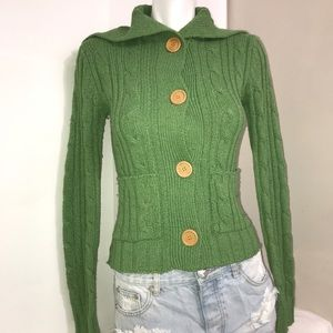 Majora Green Cable Knit ButtonDown Fitted Cardigan